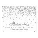 Vintage Glam Silver Confetti Wedding Thank You Postcard