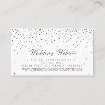Vintage Glam Silver Confetti Wedding Website Cards