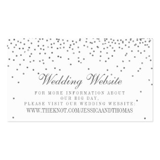 Vintage Glam Silver Confetti Wedding Website Cards Business Card