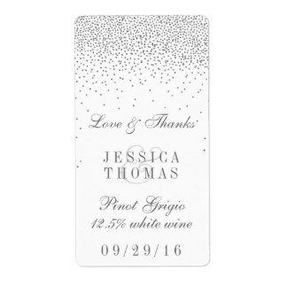 Vintage Glam Silver Confetti Wedding Wine Bottle Label