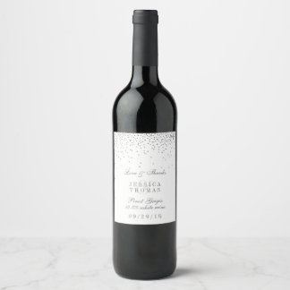 Vintage Glam Silver Confetti Wedding Wine Bottle Wine Label