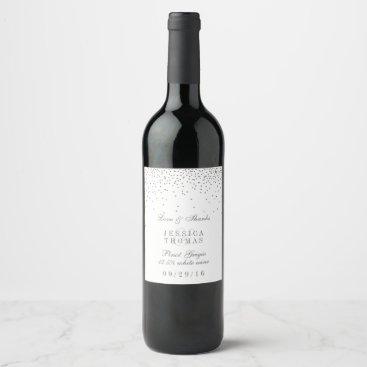 invitation_republic Vintage Glam Silver Confetti Wedding Wine Bottle Wine Label