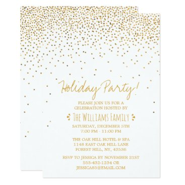 Professional Business Vintage Glam White & Gold Holiday Party Card