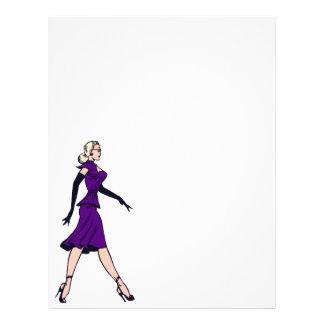 Vintage Glamor Girl, Retro Blond Secretary Letterhead