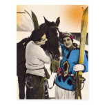 Vintage Glamour Girl - Love Skiing & Horse Postcard