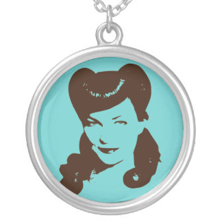 Vintage Glamour Girl Round Pendant Necklace