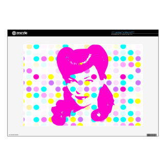 """Vintage Glamour Girl w/Polka Dots Decal For 15"""" Laptop"""