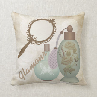 Vintage Glamour Perfumes Throw Pillow