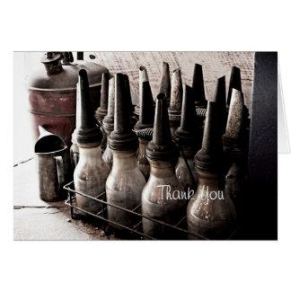 Vintage Glass Oil Bottles-Antique Repair Shop Card
