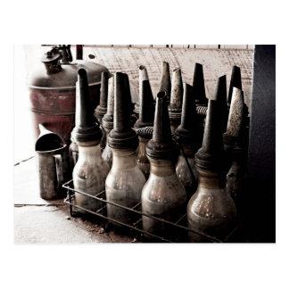 Vintage Glass Oil Bottles-Antique Repair Shop Postcard
