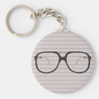 vintage glasses basic round button keychain