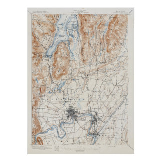 Vintage Glen Falls New York Topographical Map Poster