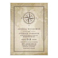 Vintage Globe Nautical Compass Wedding Invitations
