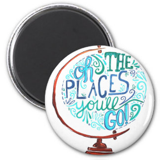 Vintage Globe - Oh The Places You'll Go Magnet