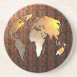 """Vintage Globe Sandstone Coaster<br><div class=""""desc"""">A Victorian style vintage globe of the world with metallic effects and faded patches and rust giving that antique feel. Image available on various gifts and products.</div>"""