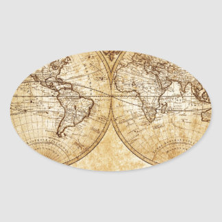 Vintage globo elegante rústico mapa del atlas p calcomanías óvales personalizadas
