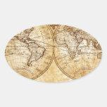 Vintage, globo elegante, rústico, mapa del atlas calcomanías ovales personalizadas