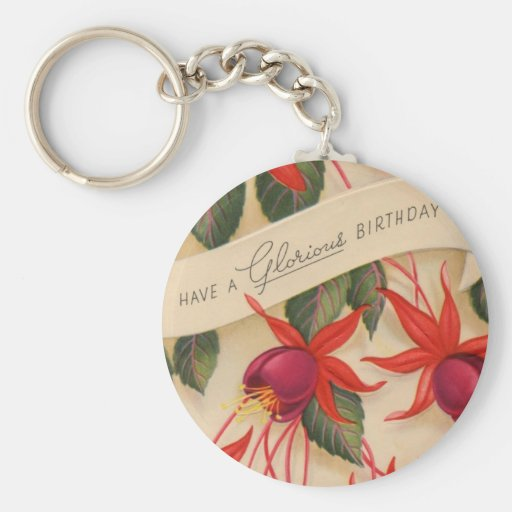 Vintage Glorious Happy Birthday Flowers Basic Round Button Keychain