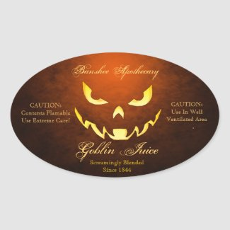 Vintage Goblin Juice Halloween Bottle Stickers