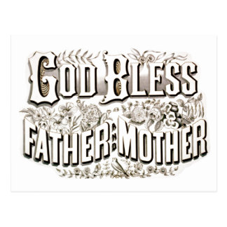 Vintage God Bless Father and Mother Prayer 1876 Postcard