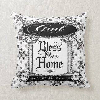 vintage god bless our home pillow cushion