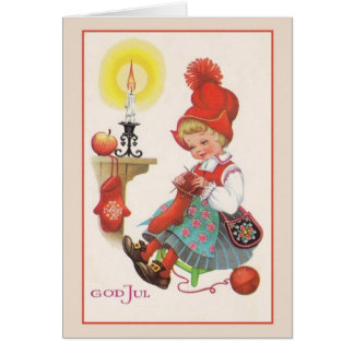 Vintage God Jul Scandinavian Christmas Card
