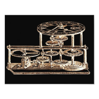 Vintage Gold Altered light Steampunk Art Gears 4.25x5.5 Paper Invitation Card