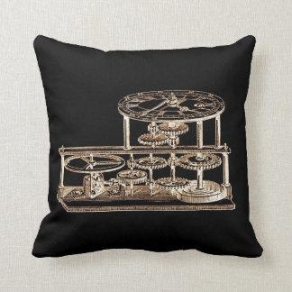 Vintage Gold Altered light Steampunk Art Gears Pillow