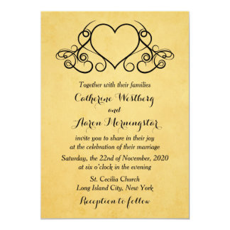 Vintage Gold And Black Hearts Wedding Invitation
