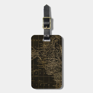 Vintage Gold and Black World Map Luggage Tag