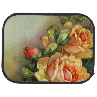 Vintage Gold and Blush Roses Car Floor Mat