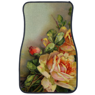 Vintage Gold and Blush Roses Car Mat