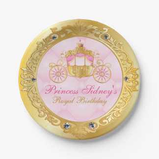 Vintage Gold and Pink Princess Party Paper Plate