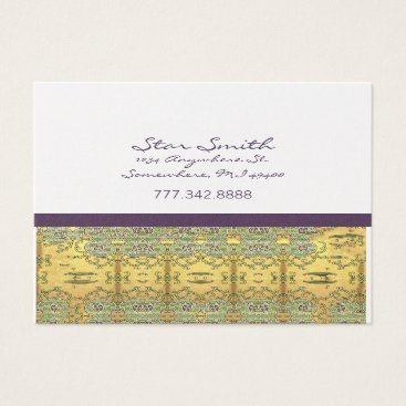 Professional Business Vintage Gold and Purple Swirly Floral Pattern Business Card