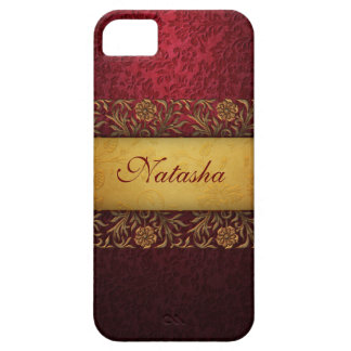 Vintage Gold and Red Personalized iPhone SE/5/5s Case