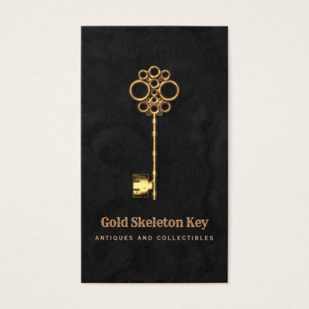 Vintage Gold Antique Skeleton Key Antiques and Collectibles Business Card Template