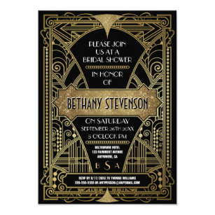 Art deco bridal shower invitations announcements zazzle vintage gold art deco bridal shower invitations filmwisefo
