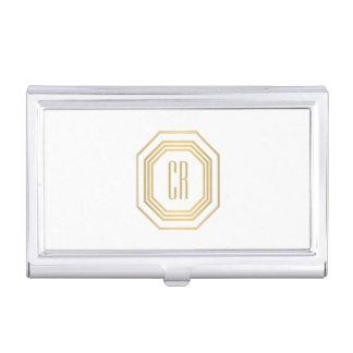Vintage Gold Art Deco Initials Monogram Business Card Holder