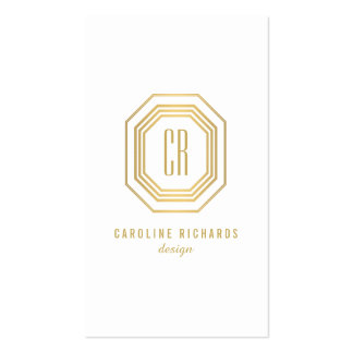 Vintage Gold Art Deco Initials Monogram Double-Sided Standard Business Cards (Pack Of 100)