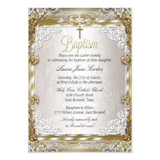 Vintage Gold Beige Damask Cross Baptism Photo Card