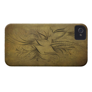 Vintage Gold Birds Line Drawings Case-Mate iPhone 4 Case