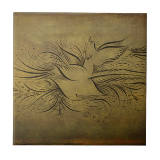 Vintage Gold Birds Line Drawings Ceramic Tile