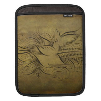 Vintage Gold Birds Line Drawings Sleeve For iPads
