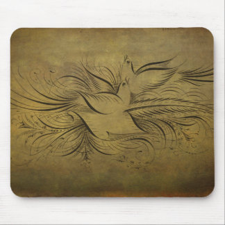 Vintage Gold Birds Line Drawings Mouse Pads