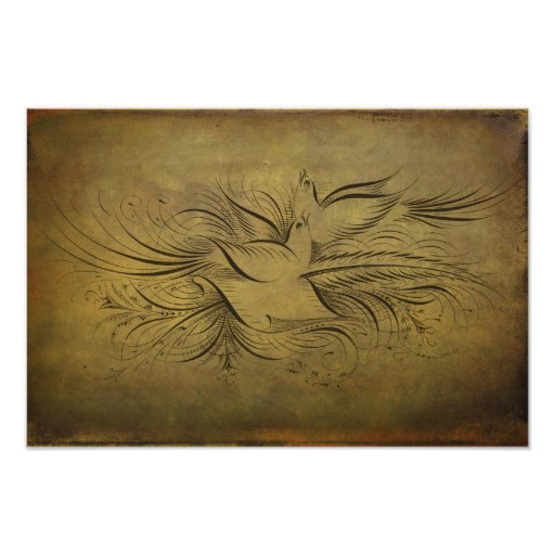 Vintage Gold Birds Line Drawings Photo Print