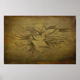 Vintage Gold Birds Line Drawings Print