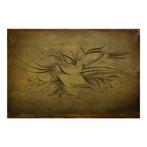 Vintage Gold Birds Line Drawings Poster