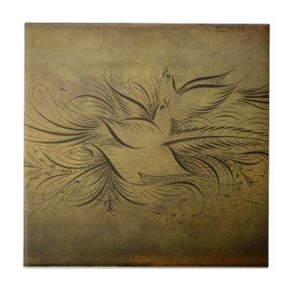 Vintage Gold Birds Line Drawings Tiles