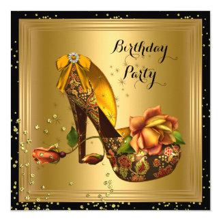 Vintage Gold Birthday Party Rose Hi Heel Sparkle Card
