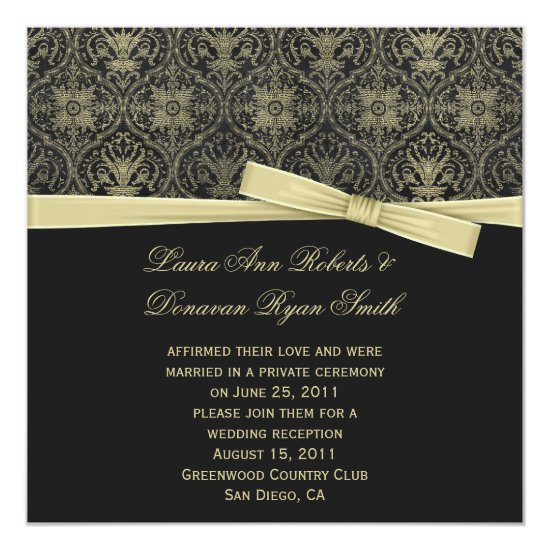 Vintage Gold Black Damask Post Wedd Invitation